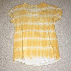 yellow and white tie die t-shirt